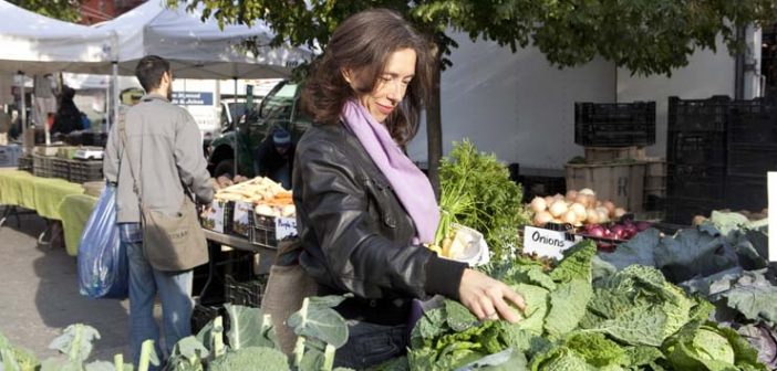Nina at Farmers Market, Real Food cookbook