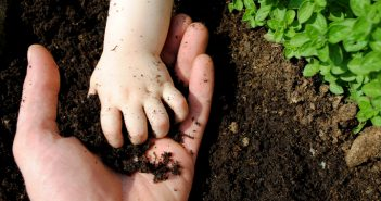 soil in child's hand